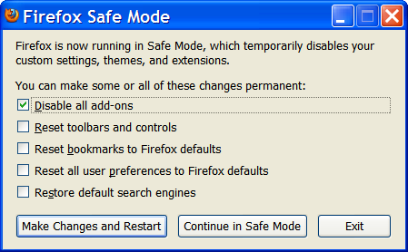 Firefox starts in Safe Mode