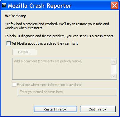 Firefox crash reporter on startup
